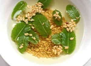Fenugreek (methi) and Mint Soaked in water
